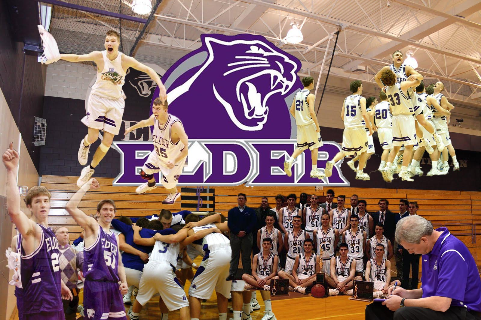 Photoshop of some of the teams throughout Coach Schoenfeld's career