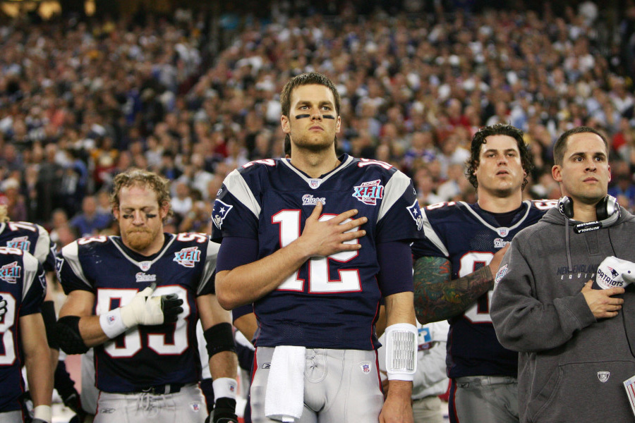 Patriot Tom Brady during the National Anthem before the 2008 Super Bowl.