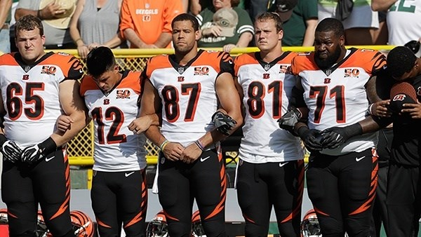 The hot topic around the NFL have been the protests. the Cincinnati Bengals shown here are only one of the teams that have not protested.