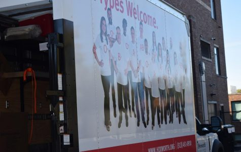The Truck outside the wrestling-volleyball gym that greeted many students in the morning.