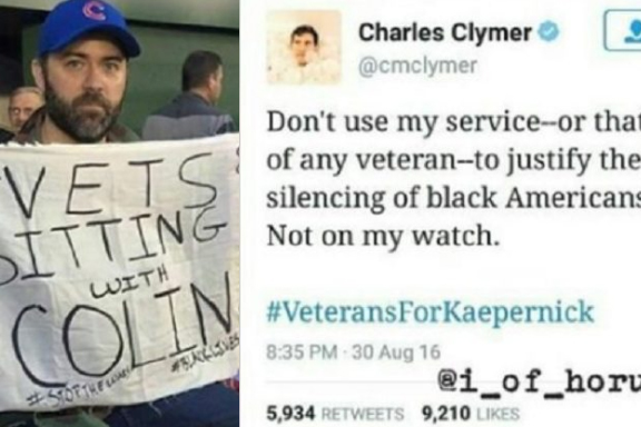 A veteran holding a sign in support for Colin Kaepernick