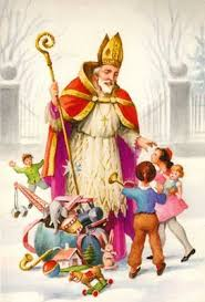 St.+Nicholas+greeting+children+the+morning+he+delivers+the+gifts+to+them.+Proof+he+is+not+santa+