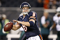CHICAGO - SEPTEMBER 28: Quarterback Rex Grossman #8 of the Chicago Bears throws a pass during warm-ups before a game against the Philadelphia Eagles on September 28, 2008 at Soldier Field in Chicago, Illinois. The Bears won 24-20. (Photo by Hunter Martin/Getty Images)