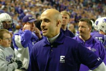 Dr. Matthew Busam prowls the sideline at an Elder football game,