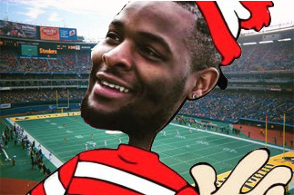 Photo of LeVeon Bell depicted as Waldo (as in wheres Waldo?) used by Steelers OL Ramon Foster to troll Bell