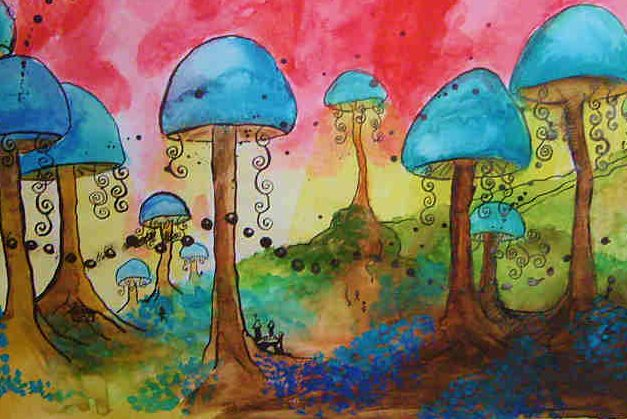psychedelic+approach+to+drawing+magic+mushrooms
