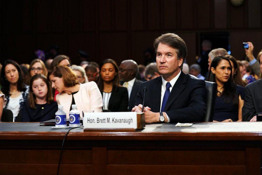 Kavanaugh listens to opening statements from senators at Judiciary Hearing.