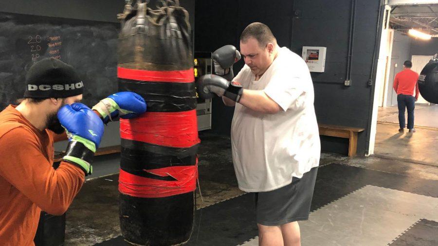 Dr. Matt Wahlert working on his 150 lb. weight loss pledge.