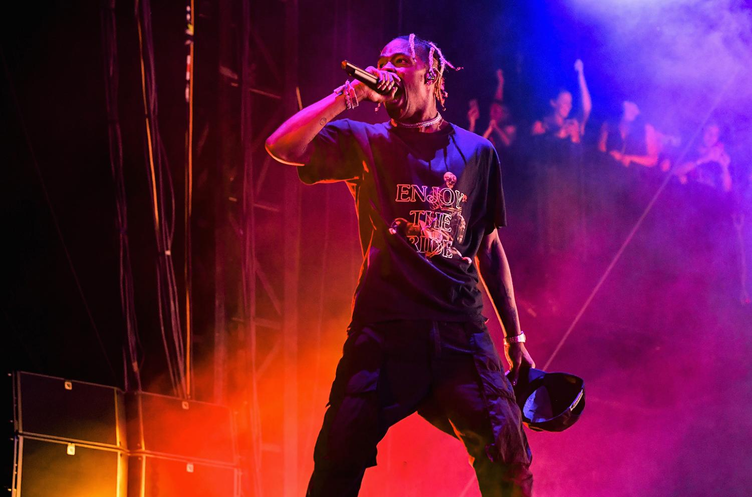 "abea6071b465 Travis Scott performing on his ""Wish Your Were Here"" tour in 2018 ( Taken  from Billboard )"