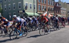Cyclists battle a hot summer day