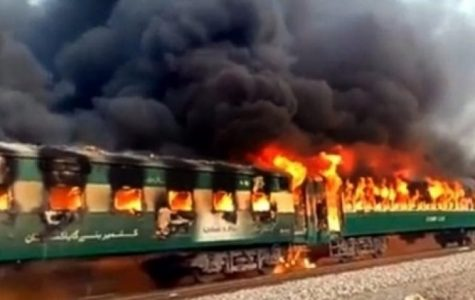 Ruins of the train that exploded in Pakistan leaving at least 70 dead and 30 injured