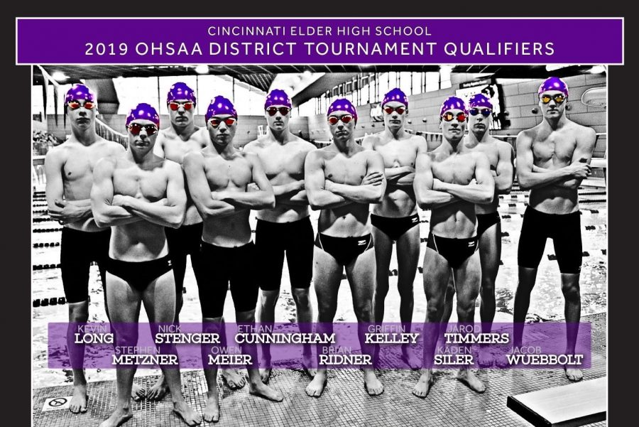 Poster+featuring+the+2018-19+district+qualifiers+from+the+Elder+swim+team.