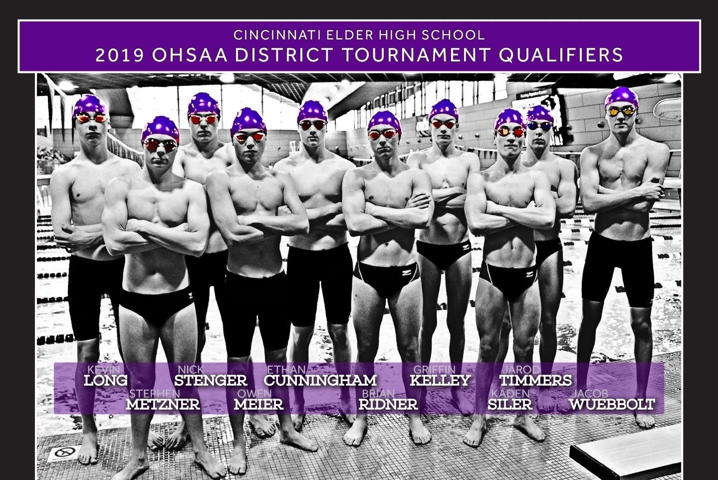 Poster featuring the 2018-19 district qualifiers from the Elder swim team.