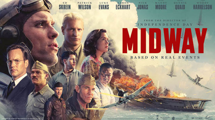 Movie Poster featuring all the major actors staring in the new film Midway.