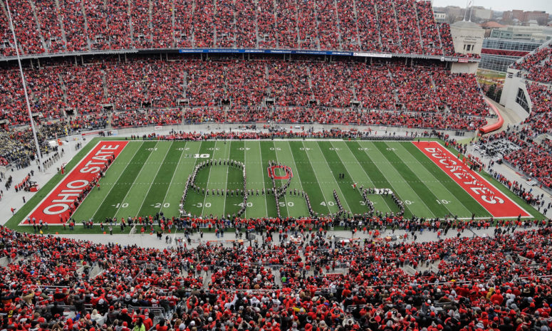 The+Ohio+State+Marching+band+performing+their+famous%2C+%22Script+Ohio%22+before+The+Game+against+Michigan+in+2018.+%0APhoto+taken+from+Getty+Images