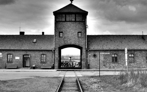 This is what prisoners who were transferred or placed at Auschwitz-Birkenau saw upon arriving at the main gates. This was the front of Auschwitz-Birkenau concentration camp in German occupied Poland in 1940.