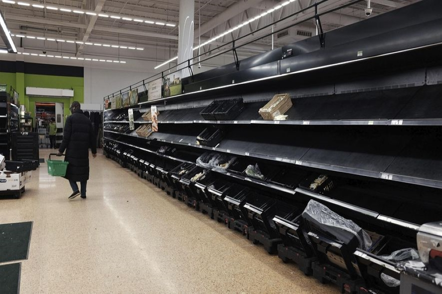 Store shelves are often empty as many people are hoarding food and supplies from others.