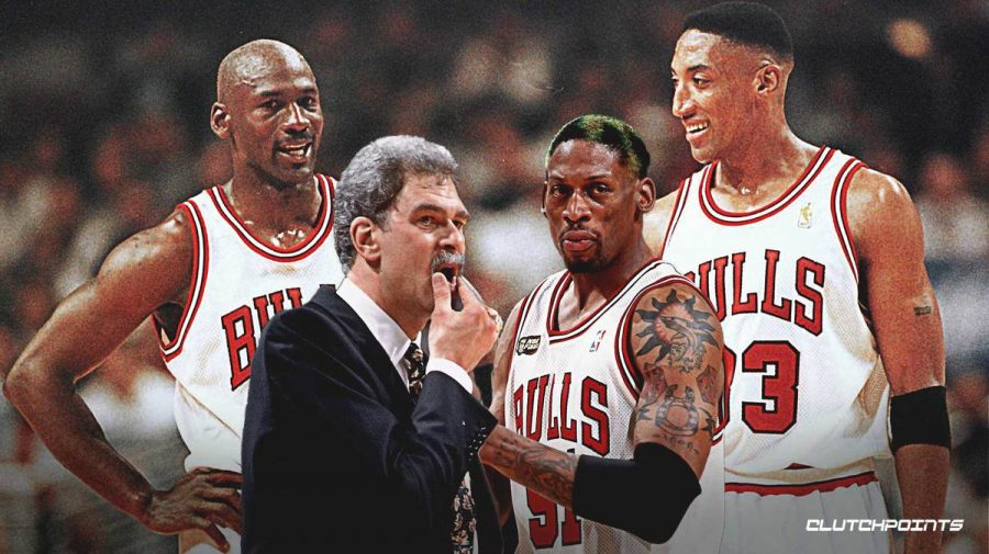 Pictured from left to right: Michael Jordan, Phil Jackson, Dennis Rodman and Scottie Pippen