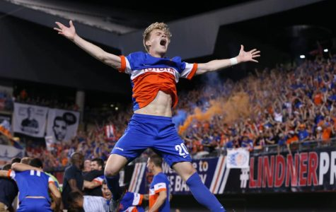 Jimmy McLaughlin Celebrates U.S. Open Cup win vs. Chicago Fire at Nippert Stadium on June 28, 2017