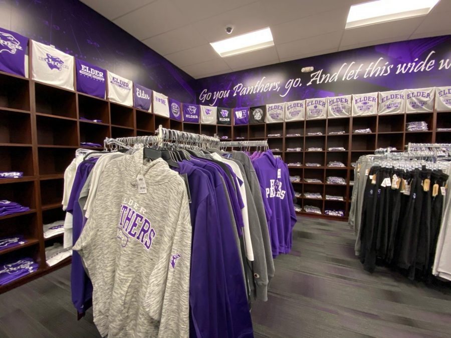 The hoodie selections and shirt wall of the spirit store