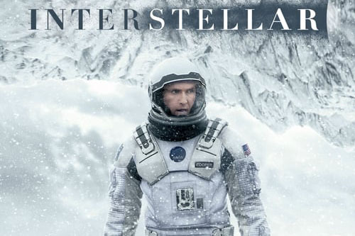 Movie poster from Christopher Nolan's film Interstellar starring Matthew McConaughey