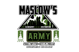 Logo for Maslow's Army that shows their motto and purpose.