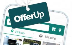 Offer Up being shown it can be accessed via smart phone, and multiple different products on the app.