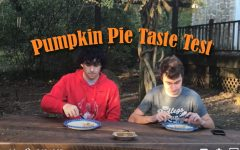 Shawn Wyatt '22 and Josh Huff '22 sample four types of everyone's favorite holiday dessert - Pumpkin Pie!!!