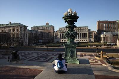 an empty college campus as students are home