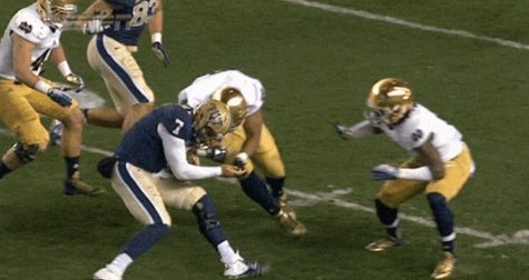 Number 7 from Pitt QB Tom Savage getting a targeting hit laid upon him by Notre Dame DL Stephon Tuitt