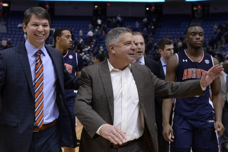 Auburn+Coach+Bruce+Pearl%3B+Auburn+placed+a+self-imposed+ban+on+themselves+for+the+2021+NCAA+tournament.