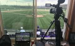 Camera set up inside the press box at Jack Adam Stadium at the PAC for a home game back in 2019.