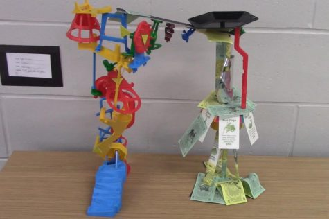 A sculpture using pieces from the popular board game, Mouse Trap.