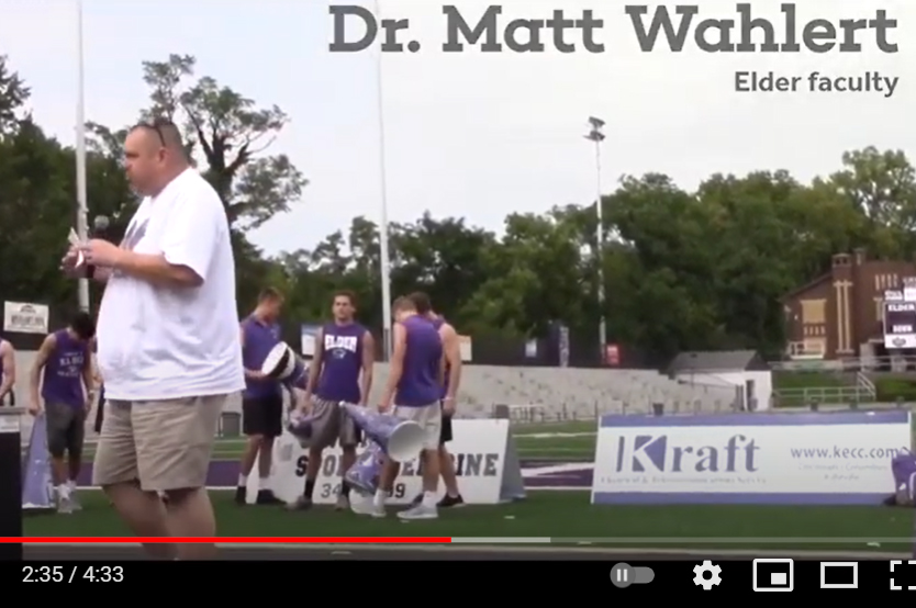 Dr. Matt Wahlert is featured in this video in a scene from a past pep rally. (remember when we were allowed to have these?)